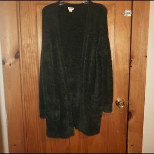 Mossimo Supply Co: Green Fuzzy Open Cardigan